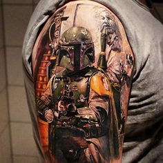 """""""JUST POSTED ON THE GEEKSTERINK APP! Check out this amazing Boba Fett with a Han in Carbonite in the background. Really next level. Tattoo done by Led…"""""""