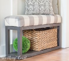 At Home Anywhere Farmhouse Bench (Knock Off Decor) Diy House Projects, Diy Furniture Projects, Furniture Redo, Farmhouse Bench, Farmhouse Decor, Knock Off Decor, Diy Bench, Trendy Bedroom, Diy Bedroom