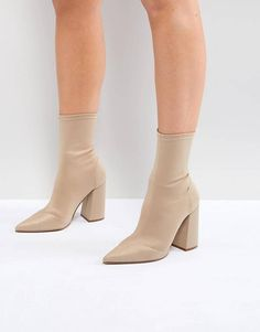 Buy ASOS EBONIE High Heeled Sock Boots at ASOS. Get the latest trends with ASOS now. Boots Beige, Nude Boots, High Heel Boots, High Heels, Women's Boots, Boots For Short Women, Short Boots, White Nursing Shoes, Brown Leather Chelsea Boots