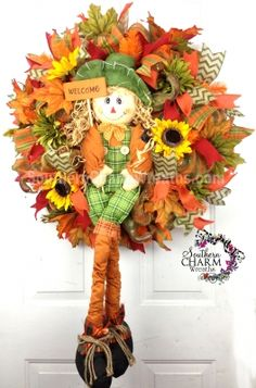 Deco Mesh Fall Scarecrow Welcome Wreath For Door or Wall Orange Moss Green