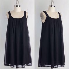 """🍁 Black Bow Dress Modcloth dress! Brand new without tags, never worn. This particular brand does not include tags on their online purchases. Shift. Delicate pleats. Bow-adorned back. Chiffon. Shell fabric does not provide stretch. Lining fabric provides stretch. Fully lined. Very flowy. Length is approx. 34"""". Black color. ModCloth Dresses Mini"""