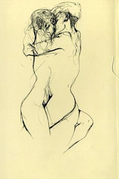 This is an Egon Schiele sketch, his pieces are normally line drawings. His work is simplistic yet extremely interesting. It this piece he has used continuous line with a black pen to create these entangled loves. In this particular drawing you are drawn to look at the intwined faces of the girl and boy as it's the darkest part of his artwork.