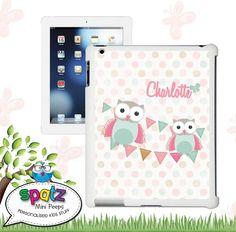iPad Personalised Snap Case - Pastel Owls belleandelle.com.au