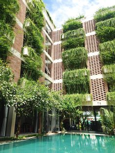 hotel facade Atlas Hotel Hoi An is an Impressive Building Surrounded by Greenery Architecture Durable, Green Architecture, Futuristic Architecture, Sustainable Architecture, Sustainable Design, Landscape Architecture, Biophilic Architecture, Pavilion Architecture, Residential Architecture