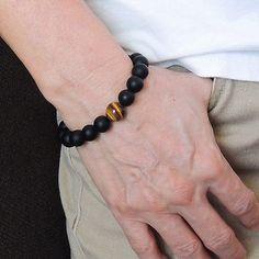 Mens Women Matte Black Onyx Tiger Eye Bracelet Handmade Gemstone DIY-KAREN 112