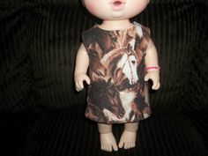 Baby 12 inch Alive doll handmade dress brown with horses on it by sue18inchdollclothes on Etsy