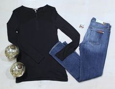 Sunday Take Down Holiday Décor Black Long Sleeve Shirt w/ Sheer Panel  by Lila P $105 Relaxed Skinny Jean by Seven For All Mankind $189 Turquoise and Ruby Cluster Bead Earrings by iSobel $48