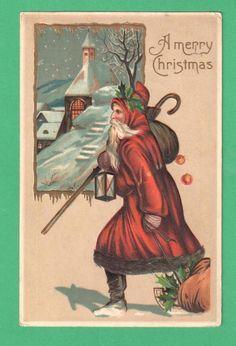 1910 CHRISTMAS SANTA CLAUS POSTCARD SACK APPLES CANE SLED LANTERN CHURCH SNOW #Christmas