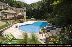 Patio, Patios, Stone and paver and brick patios, pool patios - contemporary - pool - new york - Deck and Patio Company Outdoor Living Experts