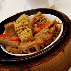 steamed beef tripe-  honeycomb tripe steamed and usually covered in chilies, black bean sauce. part of the dim sum menu.