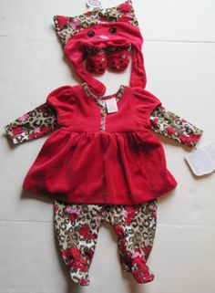 NWT Truly Scrumptious Dress Pants Suit with Hat & Mittens Set Baby Girls 3 M