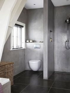Check Out 41 Concrete Bathroom Design Ideas To Inspire You. Concrete is a super popular material due to its durability, modern look and budget-friendliness. Bathroom Toilets, Bathroom Renos, Laundry In Bathroom, Bathroom Interior, Modern Bathroom, Small Bathroom, Bathroom Ideas, Bathroom Designs, Bathroom Colors
