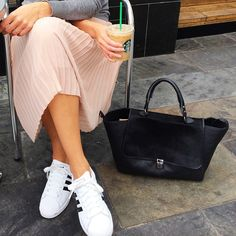 Love this style! Pleated midi skirt & Adidas superstar