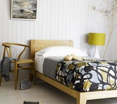 neutral bedroom: soft grey, white oak, and a hit of chartreuse