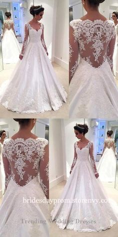 Modest Wedding Dresses,Wedding Dresses Long, Lace Wedding Dresses,Wedding Dresses With Long Sleeves,Illusion Back V Neck White Bridal Gown is part of White tulle wedding dress inches Tailoring Time - Western Wedding Dresses, Wedding Dress Trends, Wedding Dress Sleeves, Modest Wedding Dresses, Wedding Dress Styles, Designer Wedding Dresses, Bridal Dresses, Tulle Wedding, Wedding Gowns