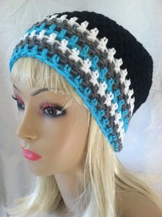 Beanie  Black white grey and pops of teal by ScarletsCorner, $20.00