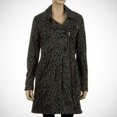 Volcom Diamond Overdose Womens Trench Coat Black Combo