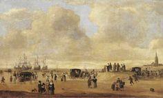 Cornelis Beelt (1612 - 1702) Een strandscène met figuren, toegeschreven aan Cornelis Beelt. Rechts onder gesigneerd met 'de Vlieger'. Simon de Vlieger gaf zijn vaardigheden en kennis door aan zijn leerlingen. In het midden een koets getrokken door zes witte paarden ofwel rijtuig van Prins Willem III van Oranje. 28 mei 1660 gingen Charles II en zijn broers James en Henry vanuit Den Haag naar de Engelse vloot kijken, die voor de kust van Scheveningen voor anker lag.