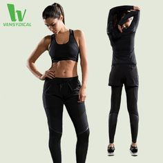 127.86$  Buy here - http://alint6.worldwells.pw/go.php?t=32786121533 - VANSYDICAL Newest Fitness Women Sports Suits Jacket T-Shirt Sports Bra Leggings Sports Shorts For Gym Running Yoga Girl Lady Set 127.86$
