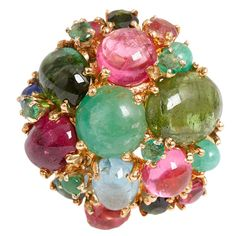 Tuti Fruti Ring is made up of tourmalines, amethysts, citrines, and pearls from the Gabor Family Estate