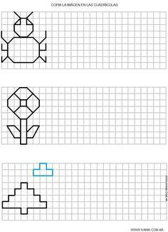 Dibujos en Cuadricula ~ Vida Blogger Graph Paper Drawings, Graph Paper Art, Symmetry Worksheets, Vocational Tasks, Math Patterns, Blackwork Embroidery, School Worksheets, Pre Writing, Puzzles For Kids
