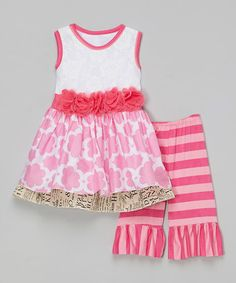 Another great find on #zulily! Pink Ruffle Layered Dress & Pants - Infant, Toddler & Girls #zulilyfinds