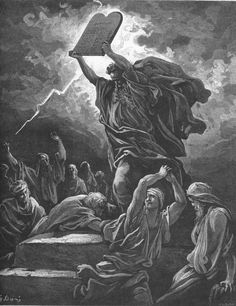 """Moses breaking the Tablets of the Law"" by Gustave Doré from ""The Holy Bible with Illustrations"""