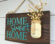 Hogar dulce hogar signo exterior rústico porche por RedRoanSigns