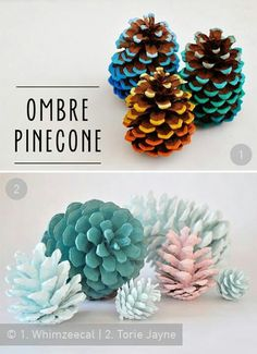 Christmas decorations - Ombre Pinecones, diy, craft, knutselen, kinderen, basisschool, denneappel, winterthema