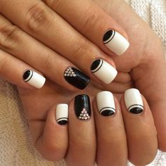 Black and white nail ideas, Black and white nail polish, Contrast nails, Elegant nails, Evening dress nails, Everyday nails, Half moonnails with rhinestones, Nails with rhinestones