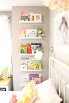 Shelves available at Ikea in the picture frame sections. Book shelves facing outward to see the book cover for toddler room Big Girl Bedrooms, Little Girl Rooms, Attic Bedrooms, Trendy Bedroom, Girls Bedroom Ideas Ikea, Gurls Bedroom Ideas, Curtains For Girls Bedroom, Tiny Girls Bedroom, 6 Year Old Boy Bedroom