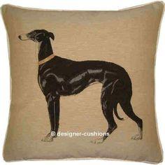 Greyhound Black Tapestry Cushion Cover $58.00 available on artsydog.com