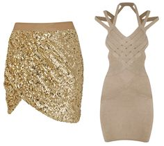 Beyonce House of Dereon gold sequin skirt bandage dress