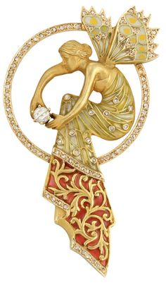 Art Nouveau ~ Gold, Diamond and Plique-a-Jour Enamel Pendant-Brooch, Masriera. The rose-cut diamond-set circle centering a gold fairy adorned with a gown decorated with green plique-a-jour enamel, dotted with small rose-cut diamonds, and pink plique-a-jour enamel accented with gold and bands of rose-cut diamonds, grasping one rose-cut diamond, her spread wings of plique-a-jour enamel, edged with rose-cut diamonds, signed Masriera, HS for Masriera Hermanos, circa 1900. Via Doyle New York.