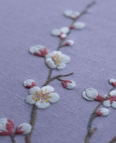 "cafeinevitable: "" Plum Blossom by haran_embroidery hand embroidery "" Embroidery Flowers Pattern, Embroidery Needles, Hand Embroidery Stitches, Embroidery Techniques, Beaded Embroidery, Flower Patterns, Hand Stitching, Embroidery Ideas, Handkerchief Embroidery"