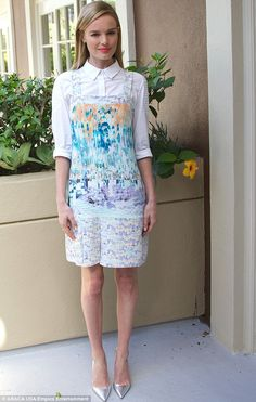 Frockin' it: Kate Bosworth looked pretty as a picture in a pinafore over a white blouse as she promoted Homefront in Los Angeles on Sunday