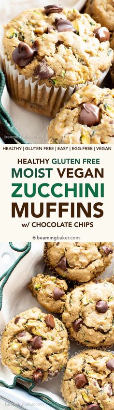 Healthy Moist Vegan Zucchini Muffins w/ Chocolate Chips (GF, V): this healthy zucchini muffins recipe is buttery, moist & fluffy! The best gluten free vegan zucchini muffins—egg free, easy & packed with chocolate! Vegan Zucchini Muffins, Zucchini Muffin Recipes, Healthy Muffins, Banana Bread Recipes, Healthy Zucchini, Vegan Sweets, Vegan Snacks, Vegan Desserts, Dessert Recipes