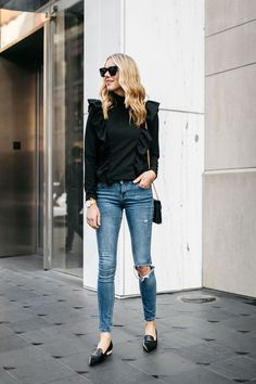 Fashion Jackson, Street Style, Black Long Sleeve Ruffle Top, Denim Ripped Skinny Jeans, Nicholas Kirkwood Pearl Heeled Loafers