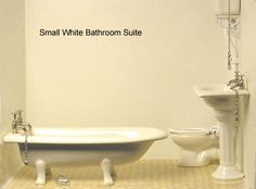 Small White Bathroom suite Arts And Crafts House, Home Crafts, Traditional Bathroom Suites, Small White Bathrooms, Clawfoot Bathtub, Handmade Crafts, Diy Crafts Home
