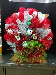 Whimsical Christmas mesh wreath.... Norma gordon