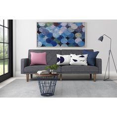 avenue greene paxson grey linen futon living room family room - Futon Living Room Set