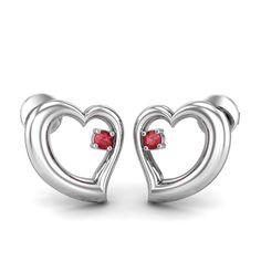 Ruby Couple Heart Earring