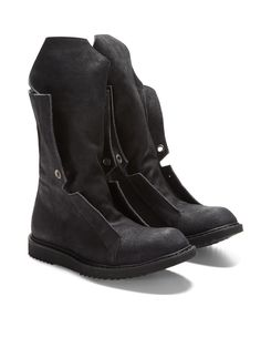 Extended Tongue Distressed Suede Boots by Rick Owens