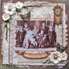 McGoldrick Family, 1901 ~ Lavishly embellished heritage page created with border stickers, lace, dimensional flowers and chipboard pieces adorned with Distress Stickles Glitter Glue in 'Antique Bronze'...just gorgeous!
