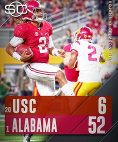 Alabama rolls 52 - 6 in the 2016 opener vs USC. in Arlington Texas. September…