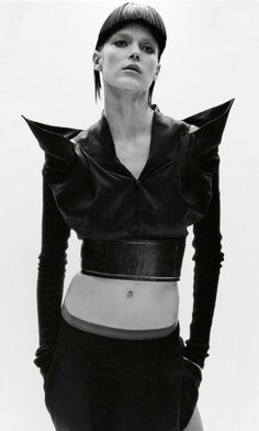 Avant Garde Fashion - cropped jacket with angular shoulders; sculptural fashion // Rick Owens