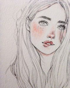 18 Ideas hair drawing illustration pencil for 2019 Kunst Inspo, Art Inspo, Art And Illustration, Pencil Drawings, Art Drawings, Drawing Faces, Drawing Lips, Sketchbook Drawings, Art Visage