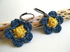 Blue and Yellow Primrose Earrings - Crochet Flower earrings - Whimsy Fashion Unique - Mother's day gift - Cute Flower Earrings by MaryKCreation on Etsy