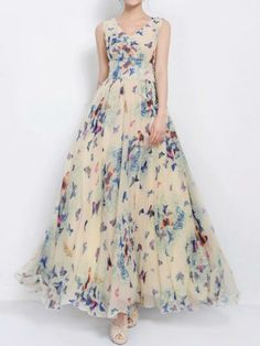 Multi Butterfly Print Low-Cut Zip Back Maxi Dress With Tie - Choies.com