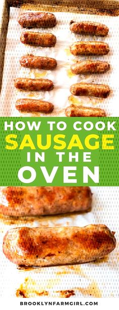 Easy steps on how to cook sausage in the oven. In 30 minutes you'll have delicious oven baked sausage for dinner. This works for sausage links and patties! Breakfast Sausage In Oven, Cook Sausage In Oven, Italian Sausage In Oven, Sausages In The Oven, Italian Sausage Recipes, Meat Recipes, Appetizer Recipes, Recipes Using Breakfast Sausage For Dinner, Amigurumi
